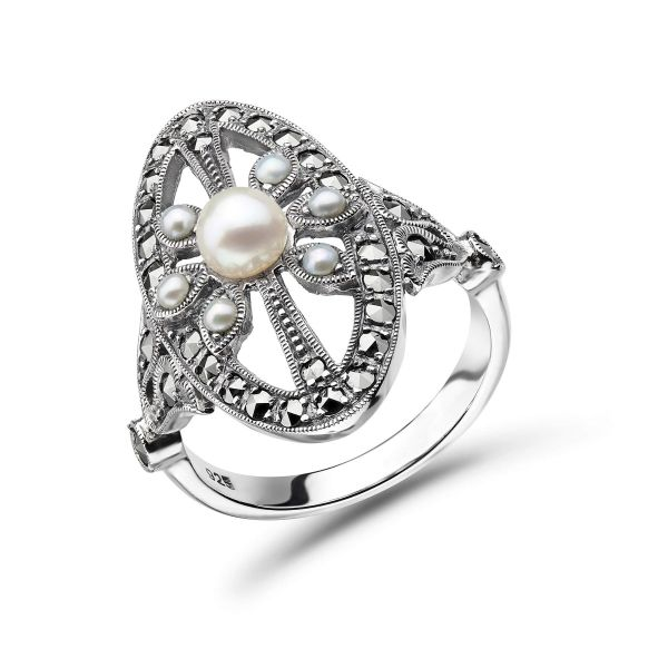 Freshwater Pearl & Marcasite Vintage Ring   Silver