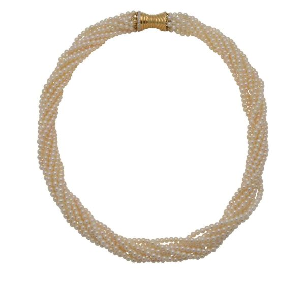 Twisted Torc Style Freshwater Pearl Necklace