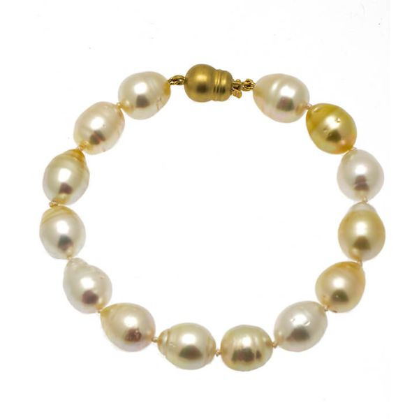 Gold & White South Sea Pearl Bracelet On 14ct Clasp