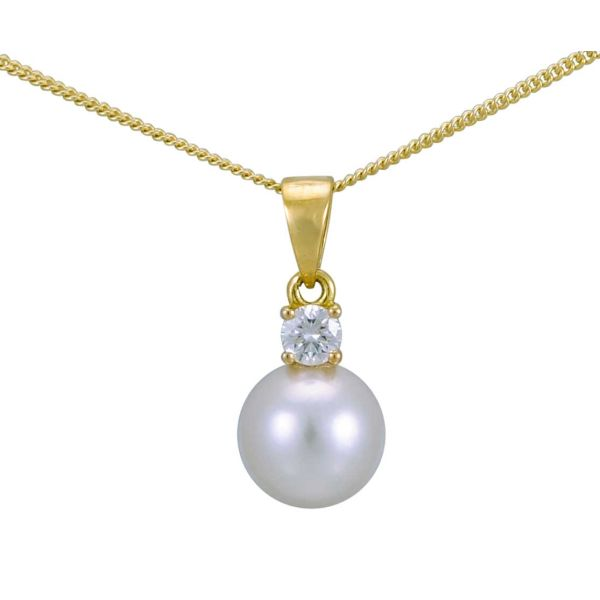 A beautifully simple Akoya Pearl and Diamond pendant in 18ct yellow Gold