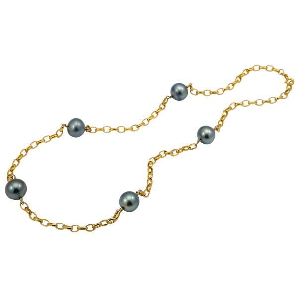 Tahitian Pearl and Oval Link Chain Necklace