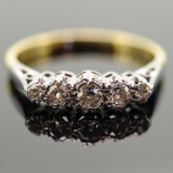 Early 20th Century 18ct Yellow Gold Diamond Five Stone Ring - front image