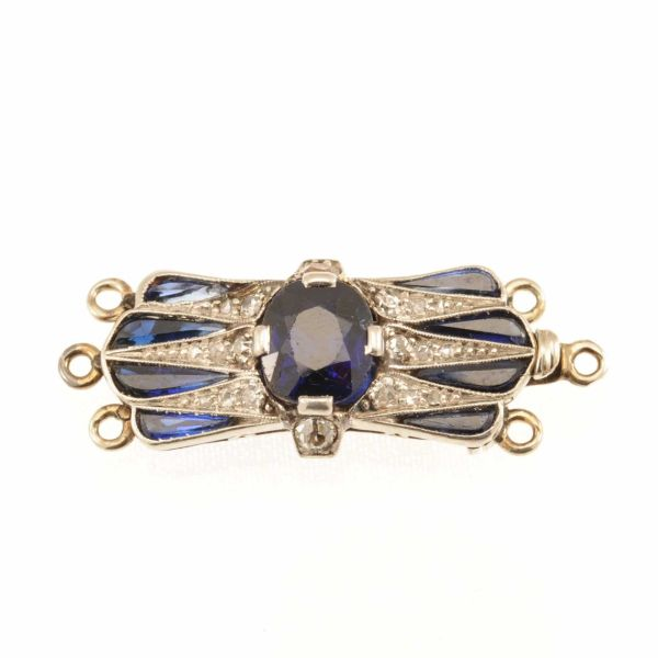 Early 20th Century Sapphire and Diamond Fancy Clasp - main image
