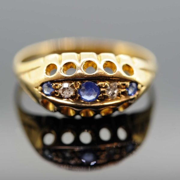 Edwardian 18ct Yellow Gold Sapphire and Diamond Five Stone Ring - front image