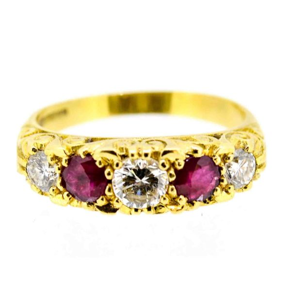Antique Style 18ct Yellow Gold Ruby and Diamond Five Stone Ring - main image