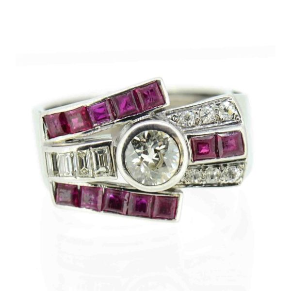 18ct White Gold Art Deco Ruby and Diamond Cocktail Ring - main image