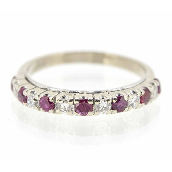 14ct White Gold Ruby and Diamond Eternity Ring - main image