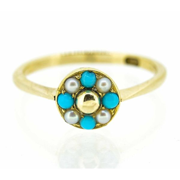Early 20th Century 9ct Yellow Gold Pearl and Turquoise Cluster Ring - main image
