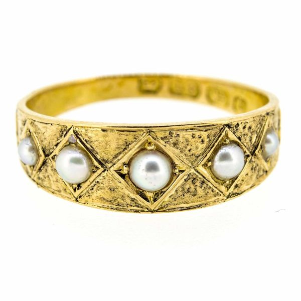 Victorian 18ct Yellow Gold Pearl Ring - main image