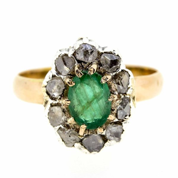 Early 20th Century Emerald and Diamond Cluster Ring - main image