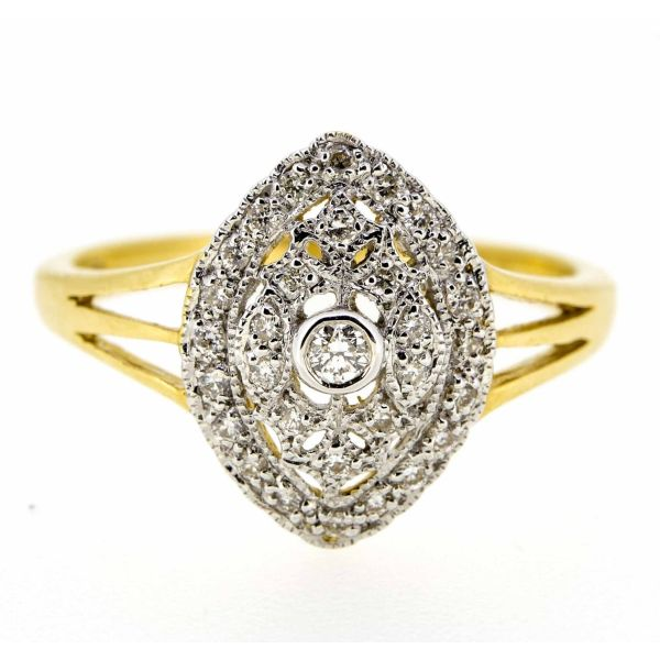 18ct Yellow Gold Antique Style Diamond Cluster Ring - main image