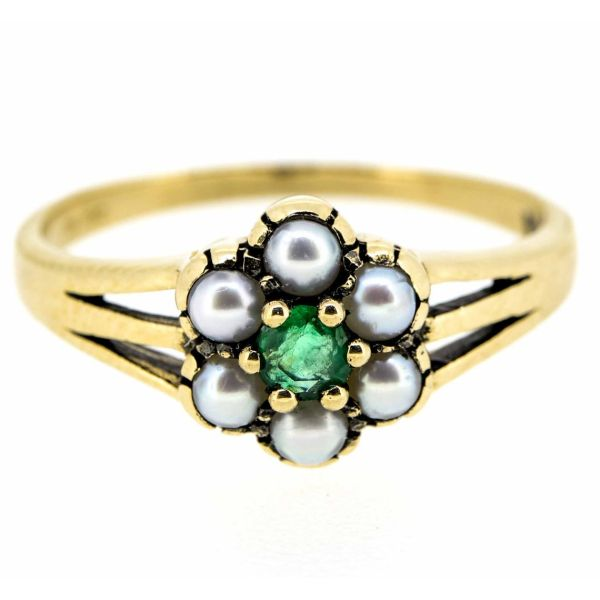 9ct Yellow Gold Antique Style Emerald and Seed Pearl Cluster Ring - main image