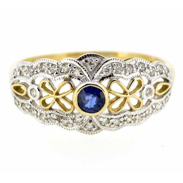 9ct Yellow Gold Antique Style Sapphire and Diamond Ring - main image