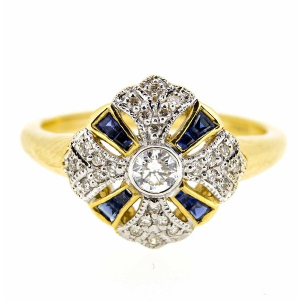 18ct Yellow Gold Antique Style Sapphire and Diamond Fancy Cluster Ring - main image