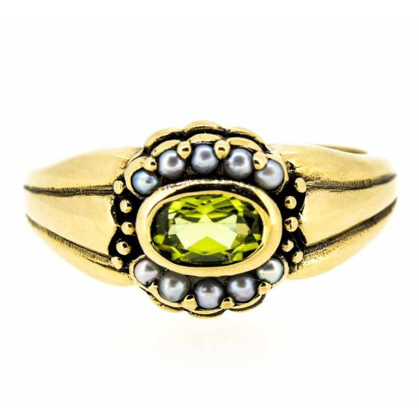 9ct Yellow Gold Antique Style Peridot and Seed Pearl Dress Ring