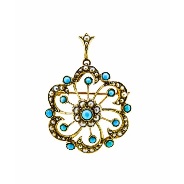 Victorian 9ct Gold Turquoise & Pearl Brooch / Pendant - main image