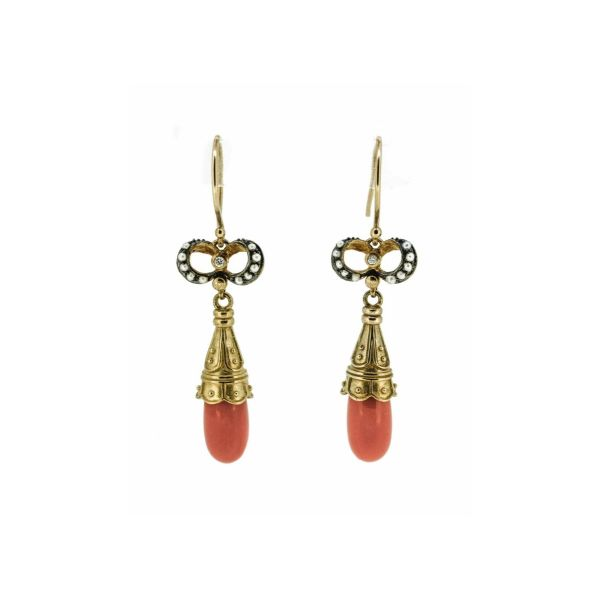 Victorian Style Coral, Diamond and Seed Pearl Drop Earrings - main image