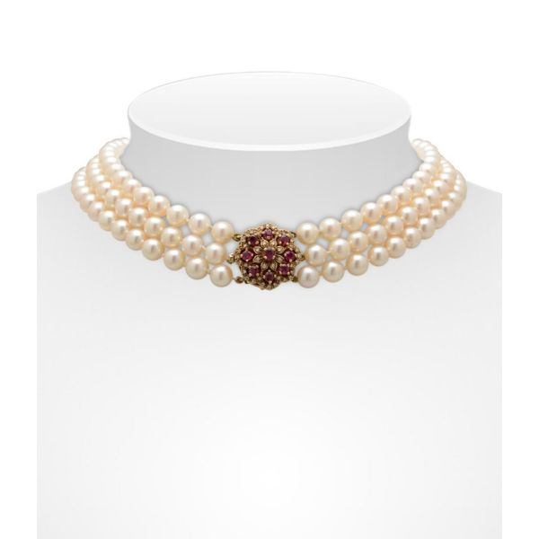 Triple Row Akoya Pearl Necklace With Ruby And Diamond Cluster Clasp