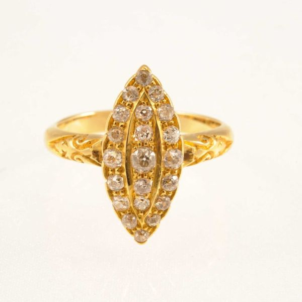 Victorian 18ct Yellow Gold Diamond Navette-Shaped  Cluster Ring - main image