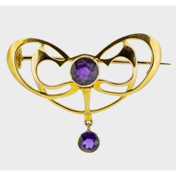 Art Nouveau 15ct Yellow Gold Amethyst Brooch - main image