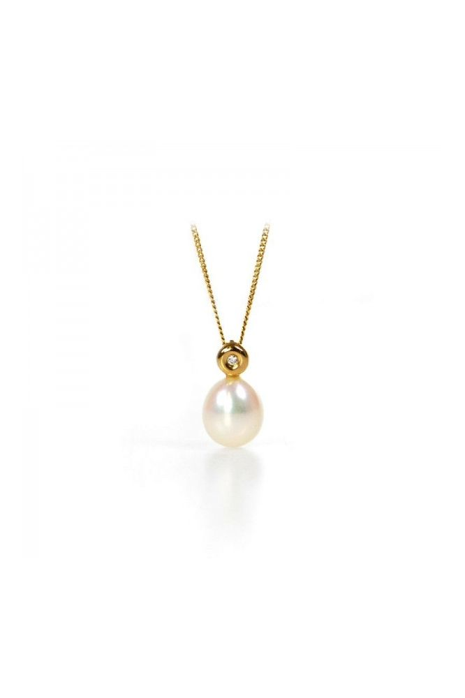 Simple Freshwater Pearl & Diamond Drop Pendant | 9 ct Yellow Gold