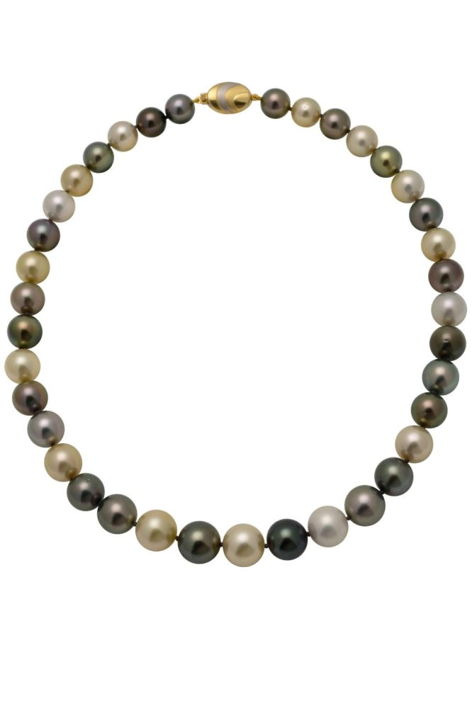 Tahitian And South Sea Pearl Necklace On 18ct Bi Colour Clasp