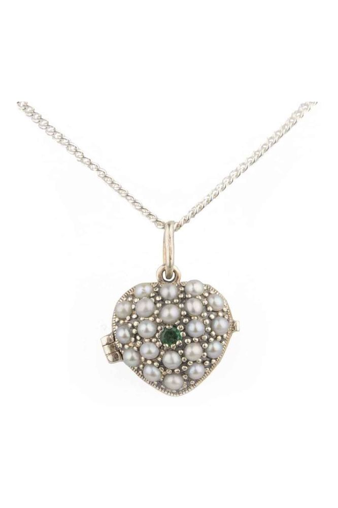Antique Style Emerald & Seed Pearl Heart Pendant and Chain  |  Silver