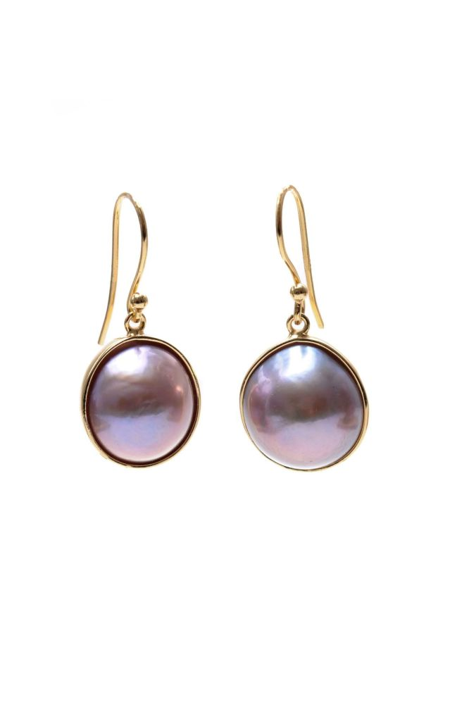 Silver Gilt and Freshwater Pearl Hook Drop Earrings