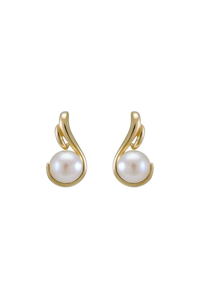 Freshwater Pearl Contemporary Scroll Design Earrings  |  9ct Gold