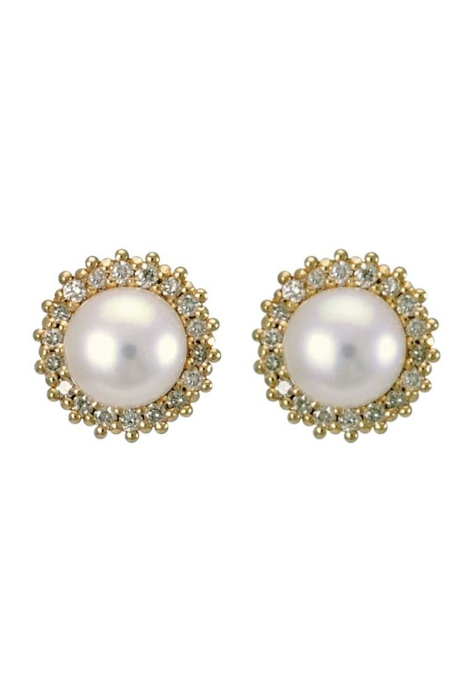 Freshwater Pearl and Diamond Halo Cluster Earrings  |  9ct Gold
