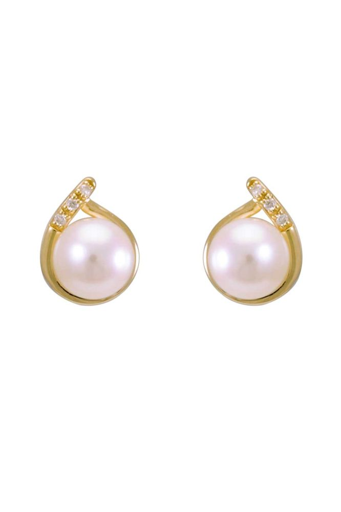 Freshwater Pearl & Diamond Crossover Dainty Stud Earrings | 9 ct Yellow Gold