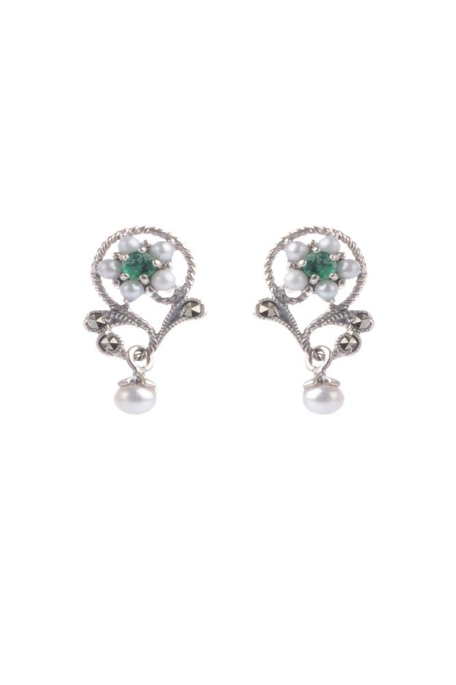 Freshwater Cultured Pearl, Emerald & Marcasite Floral Earrings  |  Silver