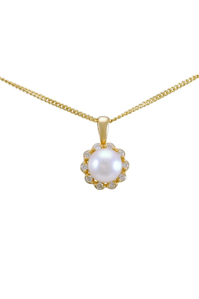 Freshwater Pearl & Diamond Dainty Cluster Pendant  |  9ct Gold
