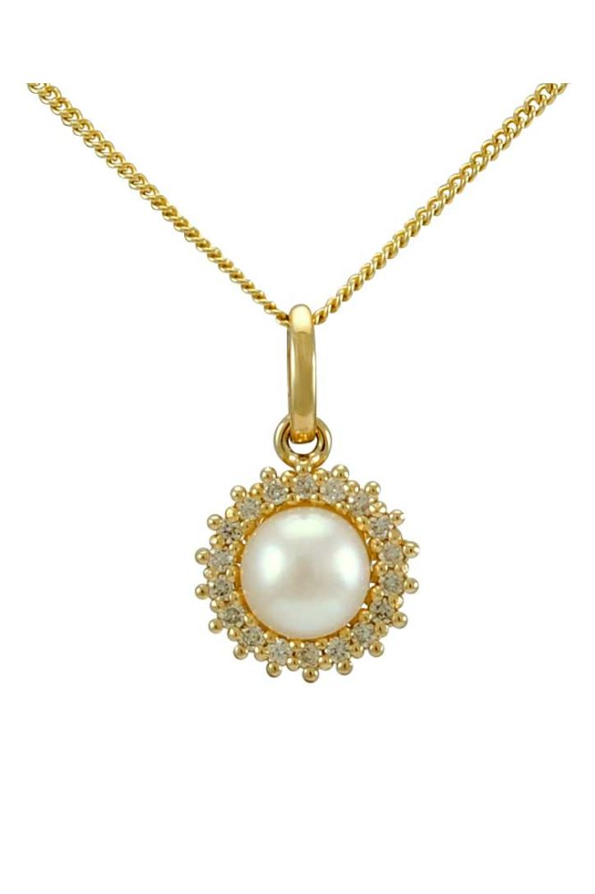 Freshwater Pearl & Diamond Halo Cluster Pendant  |  9ct Gold