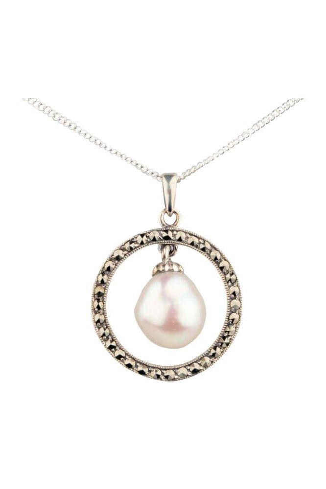 Freshwater Baroque Pearl & Marcasite Vintage style Pendant | Silver