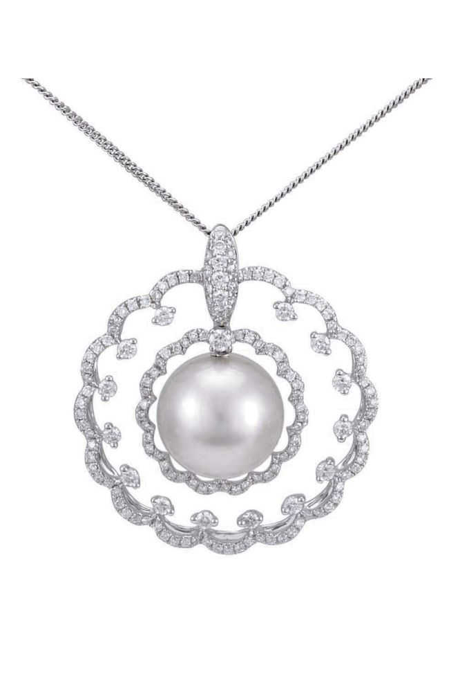 Elegant South Sea Pearl and Diamond open-work Pendant mounted in 18ct white gold