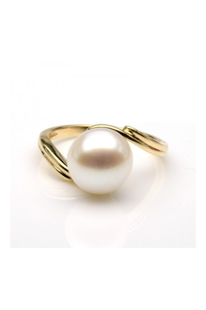 Freshwater Cultured Pearl Double Shank Ring | 9ct Yellow Gold