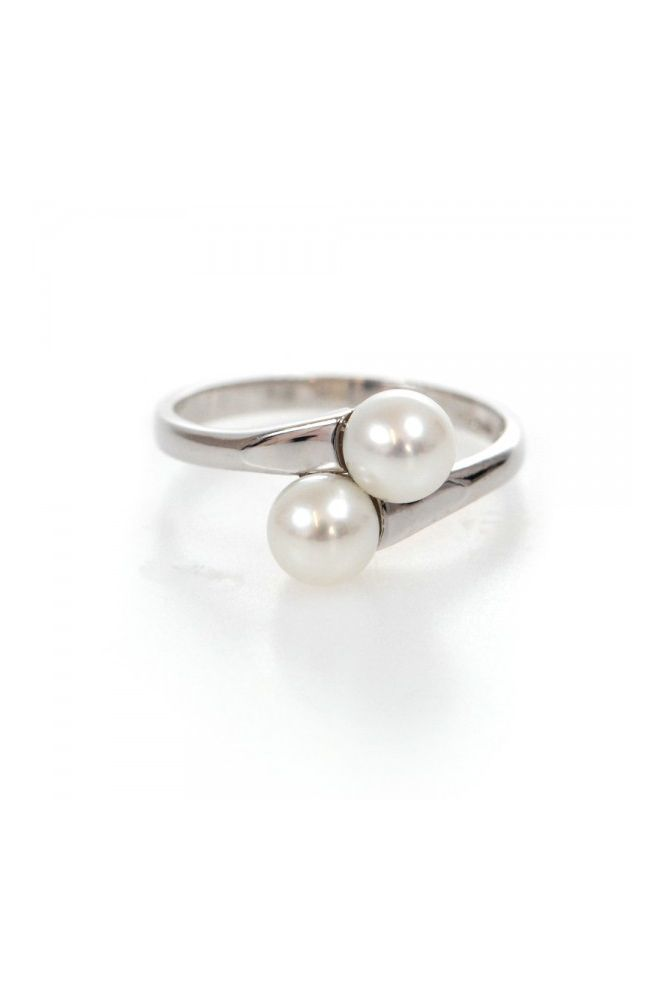 Double Freshwater Cultured Pearl Crossover Ring | 9ct White Gold