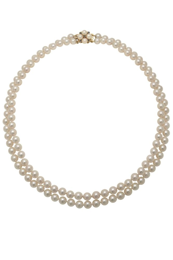 Double Row Akoya Pearl Necklace With Sapphire & Pearl Necklace