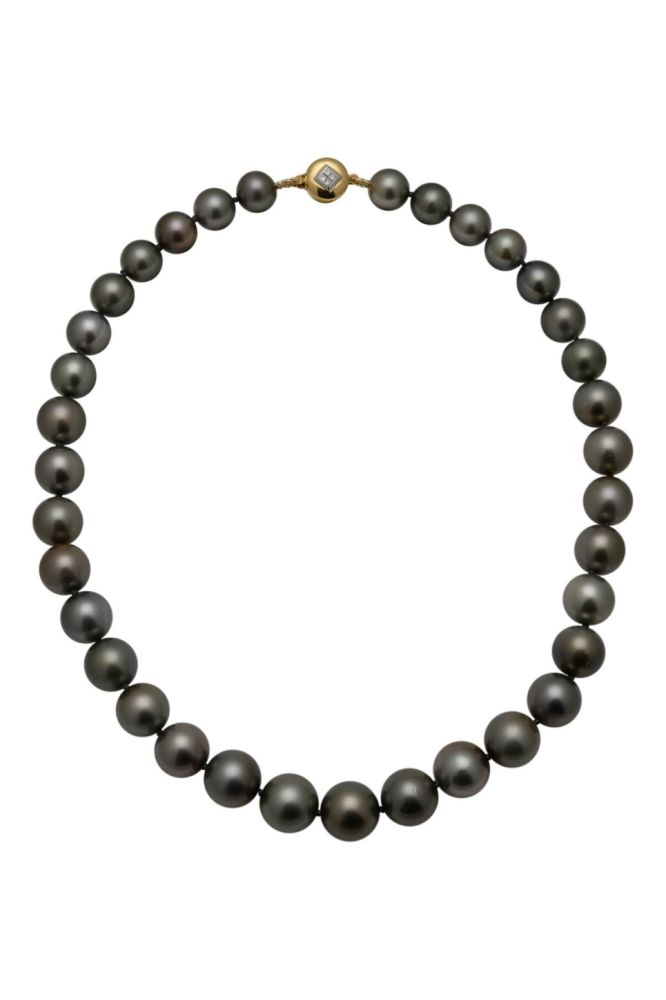 Pewter Toned Tahitian Pearl Necklace With 18ct Diamond Set Clasp