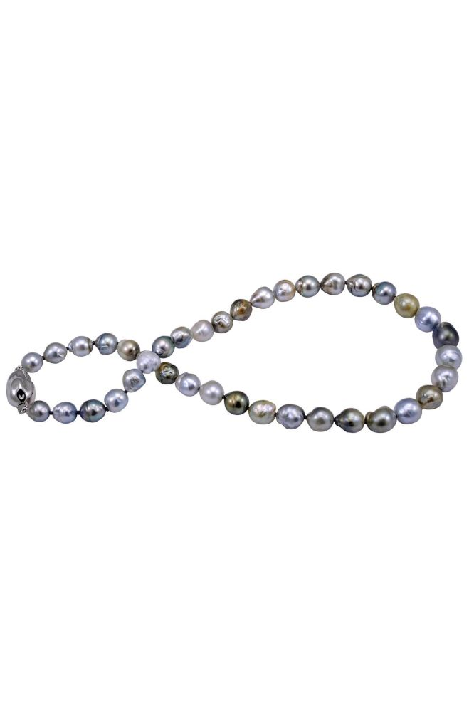 Tahitian Multi-Colour Baroque Pearl Necklace With Silver Baroque Clasp