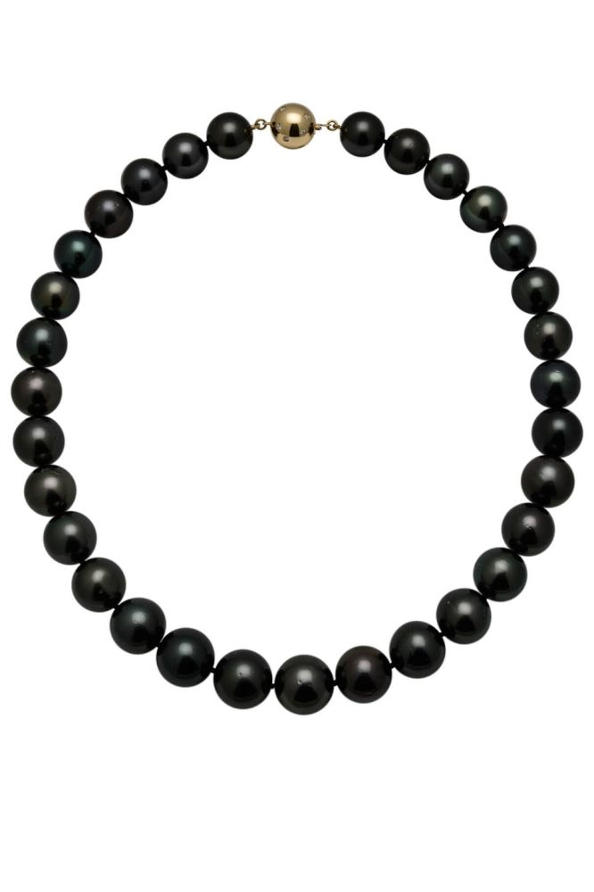 Black Tahitian Pearl Necklace with 18ct Diamond Clasp