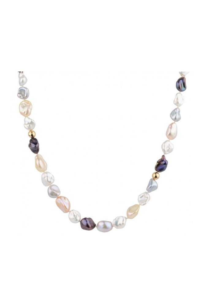 Freshwater Keshi Pearl and Bead Necklace | 9ct Yellow Gold