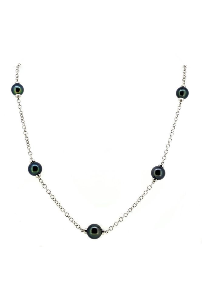 Tahitian Pearl & Chain 9ct White Gold Necklace