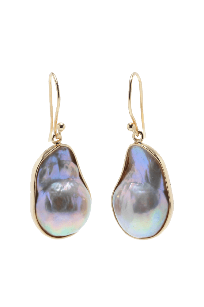 baroque natural colour freshwater drop earrings | Silver Gilt