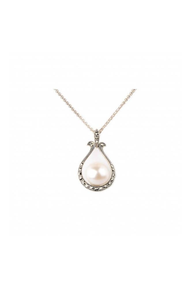 Baroque Freshwater Pearl & Marcasite Pendant with Chain | Silver