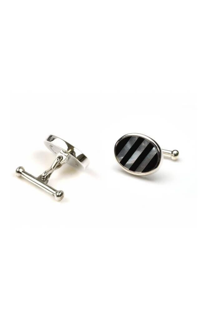 Silver Oval Mother Of Pearl and Black Onyx Cufflinks