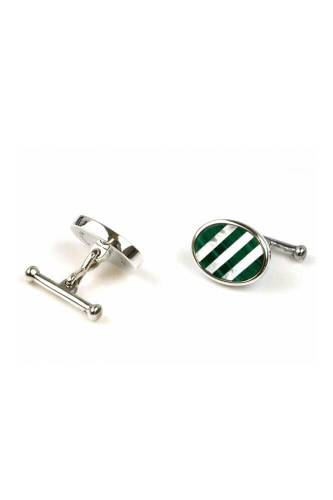 Silver Oval Mother of Pearl and Malachite Cufflinks
