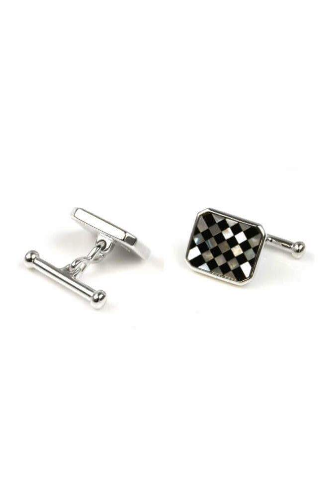 Silver Octagonal Mother Of Pearl and Black Onyx Cufflinks