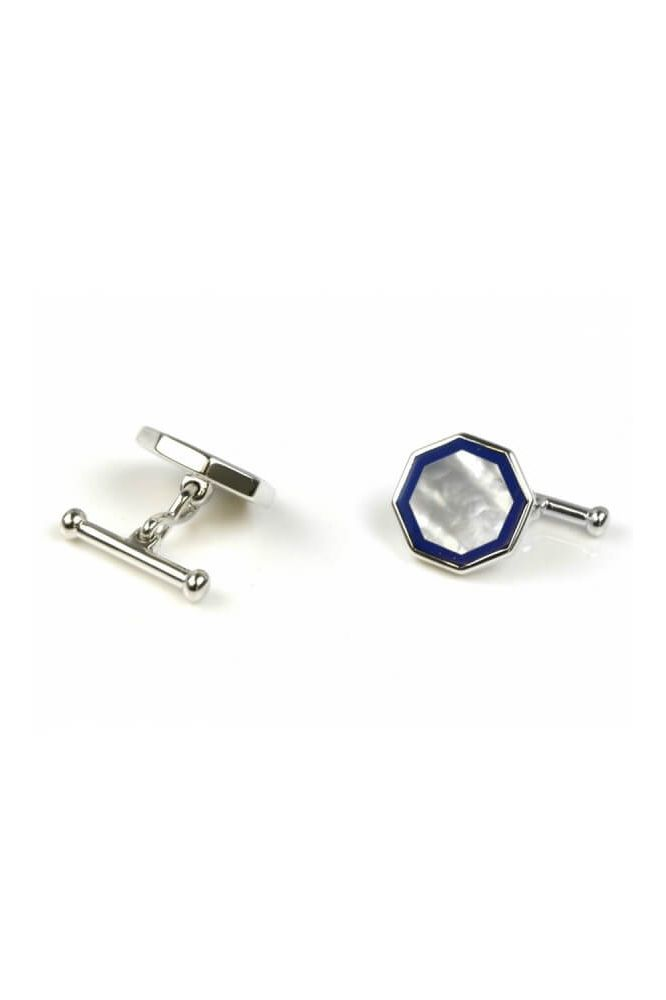 Silver Octagonal Mother of Pearl  & Lapis Cufflinks